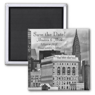 NYC: Chrysler Building, Flatiron Save the Date 2 Inch Square Magnet