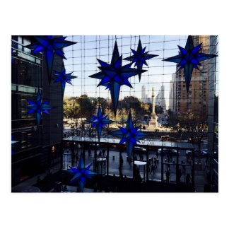 NYC Columbus Circle Christmas Decorations Postcard