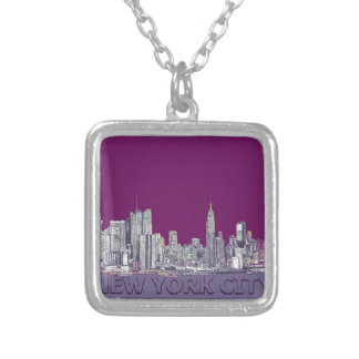 NYC con la lila púrpura Joyeria Personalizada