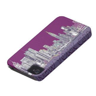 NYC con la lila púrpura iPhone 4 Cárcasas