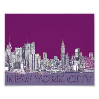NYC con la lila púrpura Arte Fotografico