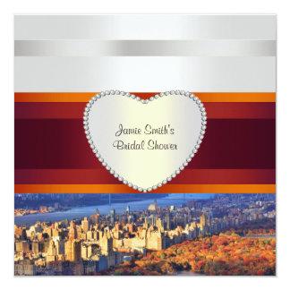 """NYC CP West GW Bridge H Bridal Shower Invite 5.25"""" Square Invitation Card"""