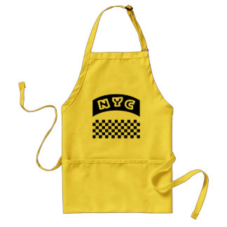 NYC Cutout With Taxi Checkerboard And Banner Adult Apron