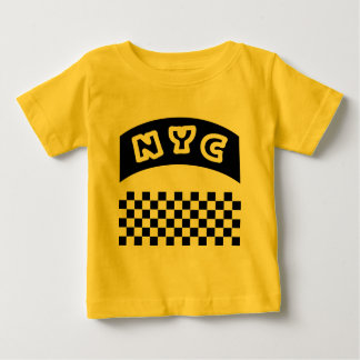 NYC Cutout With Taxi Checkerboard And Banner Baby T-Shirt