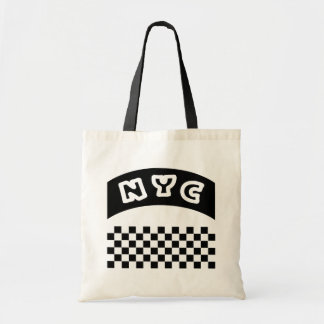 NYC Cutout With Taxi Checkerboard And Banner Tote Bags