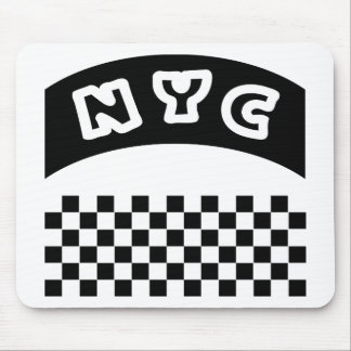 NYC Cutout With Taxi Checkerboard And Banner Mouse Pad