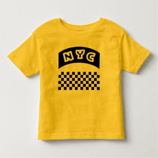 NYC Cutout With Taxi Checkerboard And Banner Toddler T-shirt