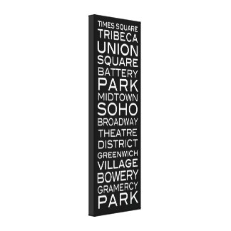 NYC Districts Parks & Neighborhoods | on Black Canvas Print