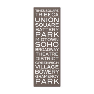 NYC Districts Parks & Neighborhoods | on Slate Canvas Print