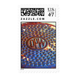 NYC DPW Manhole Cover Square Stamp