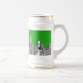 NYC drawing bright green 18 Oz Beer Stein
