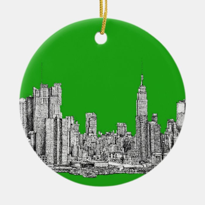 NYC drawing bright green Ceramic Ornament