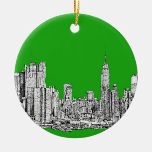 NYC drawing bright green Christmas Tree Ornament