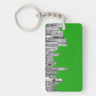 NYC drawing bright green Keychain
