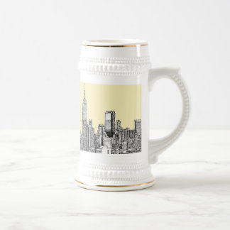 NYC drawing in cream ivory 18 Oz Beer Stein