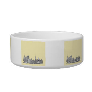 NYC drawing in cream ivory Bowl