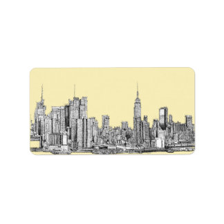 NYC drawing in cream ivory Label