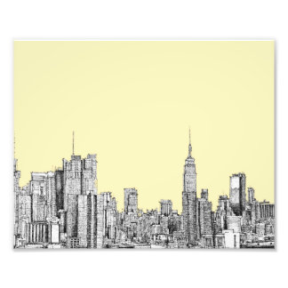 NYC drawing in cream ivory Photo Art