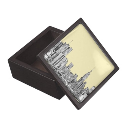 NYC drawing in cream ivory Premium Trinket Box