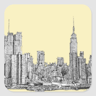NYC drawing in cream ivory Square Sticker