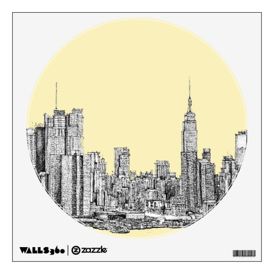 NYC drawing in cream ivory Wall Sticker