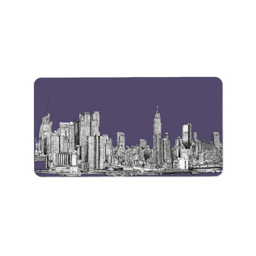 NYC drawing in lilac purple Address Label