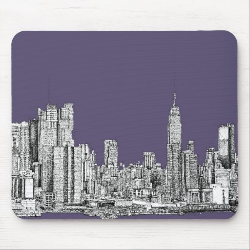 NYC drawing in lilac purple Mouse Pad