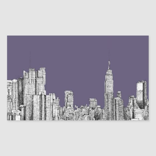 NYC drawing in lilac purple Rectangular Sticker