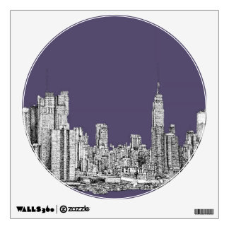 NYC drawing in lilac purple Room Decals