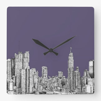 NYC drawing in lilac purple Square Wall Clock