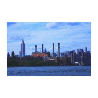 NYC East River Skyline: Skyscrapers & Smokestacks Canvas Print