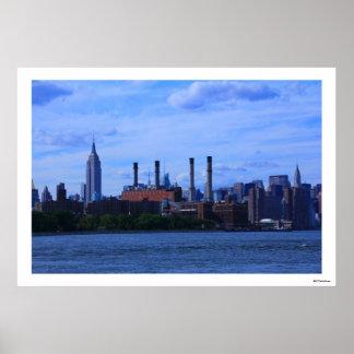 NYC East River Skyline: Skyscrapers & Smokestacks Poster