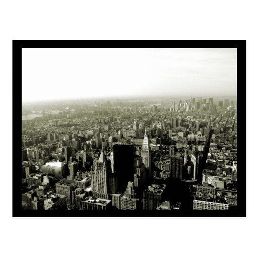 NYC Empire State View B&W Postcard