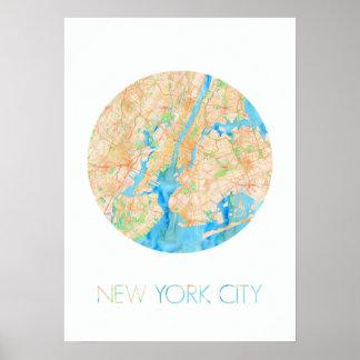 NYC en acuarela Póster