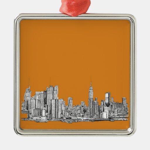 NYC en naranja Adorno Navideño Cuadrado De Metal