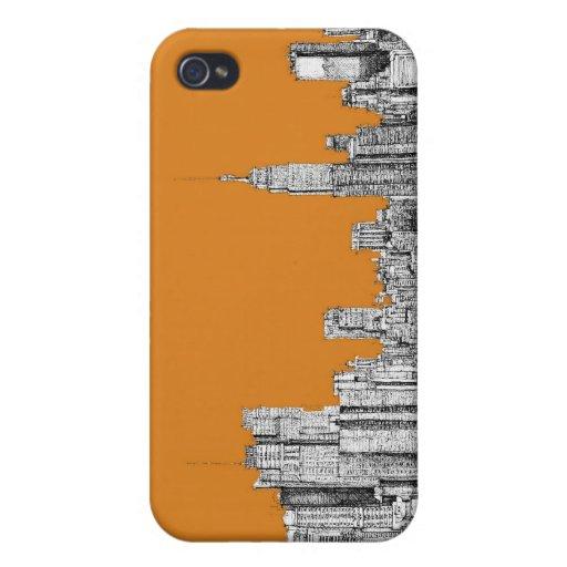 NYC en naranja iPhone 4/4S Carcasas