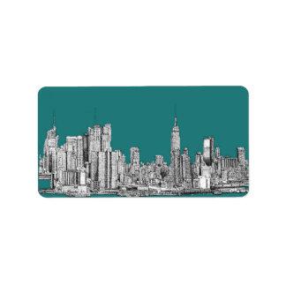 NYC en verde de la turquesa Etiqueta De Dirección