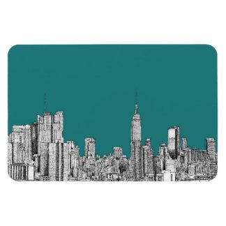NYC en verde de la turquesa Imanes Rectangulares