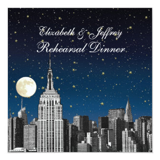 NYC ESB Skyline Blue Star Moon Rehearsal Dinner Card