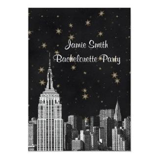 NYC ESB Skyline Etched Black Starry Bachelorette V 5x7 Paper Invitation Card