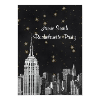 NYC ESB Skyline Etched Black Starry Bachelorette V Card
