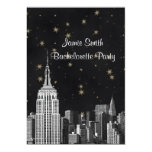 NYC ESB Skyline Etched Black Starry Bachelorette V Personalized Announcement