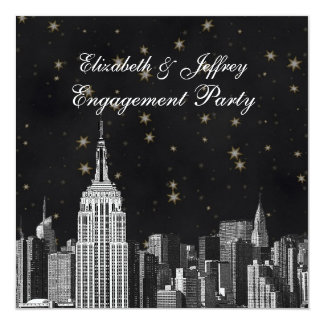 NYC ESB Skyline Etched Black Starry Engagement 5.25x5.25 Square Paper Invitation Card
