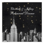 "NYC ESB Skyline Etched Black Starry Rehearsal Din 5.25"" Square Invitation Card"