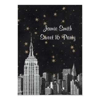 NYC ESB Skyline Etched Black Starry Sweet 16 V Card