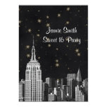 NYC ESB Skyline Etched Black Starry Sweet 16 V Personalized Announcements