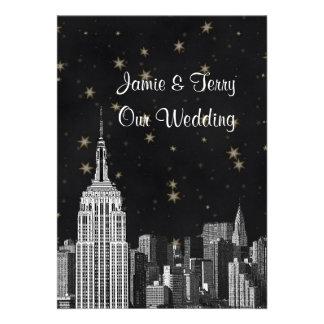 NYC ESB Skyline Etched Black Starry Wedding Invites