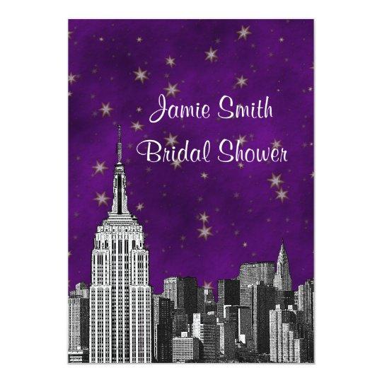 NYC ESB Skyline Etched Purpl Starry Bridal Showr V Card