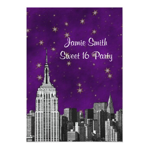 NYC ESB Skyline Etched Purple Starry Sweet 16 V 5x7 Paper Invitation Card