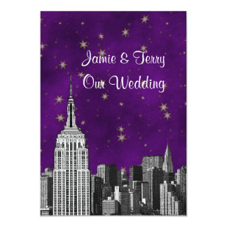 NYC ESB Skyline Etched Purple Starry Wedding 5x7 Paper Invitation Card